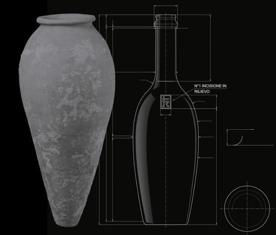 Diseño de la botella inspirado en antiguas ánforas